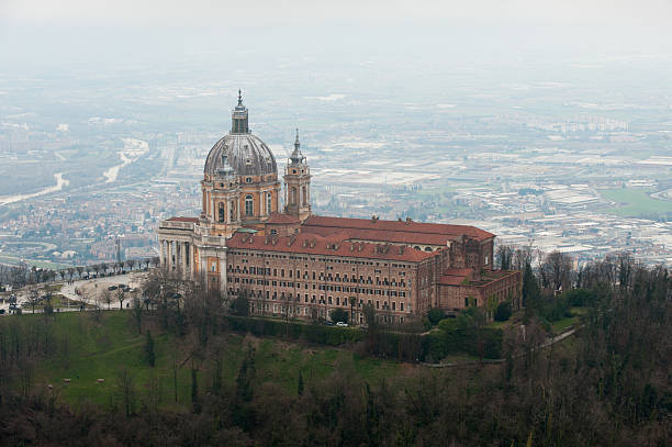 Aerial view of Basilica of Superga, side view, Turin, Italy stock photo