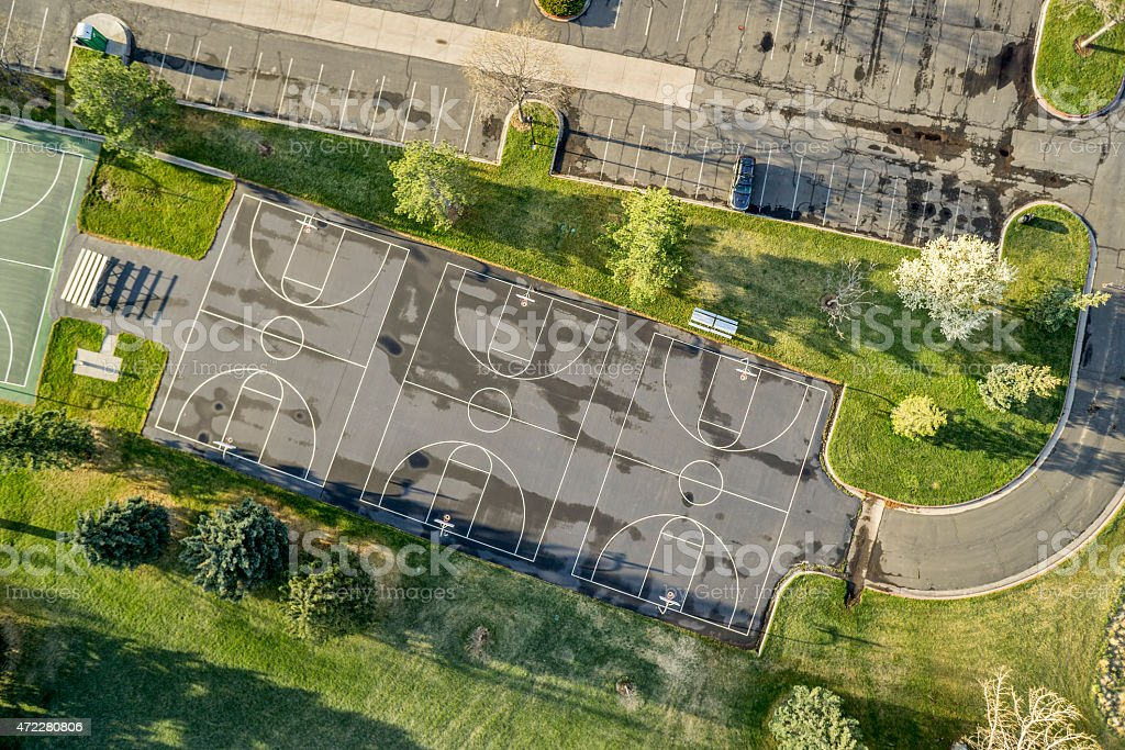 aerial view of basketball courts stock photo