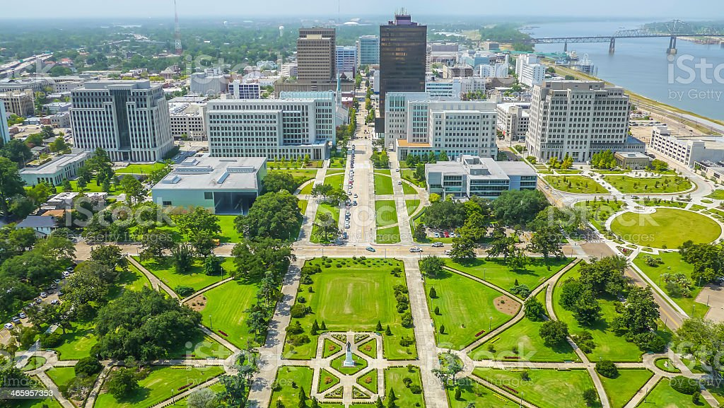 Aerial view of Baton Rouge city An aerial view of downtown Baton Rouge from the State Capitol building, looking towards the Mississippi bridge and river. Baton Rouge Stock Photo