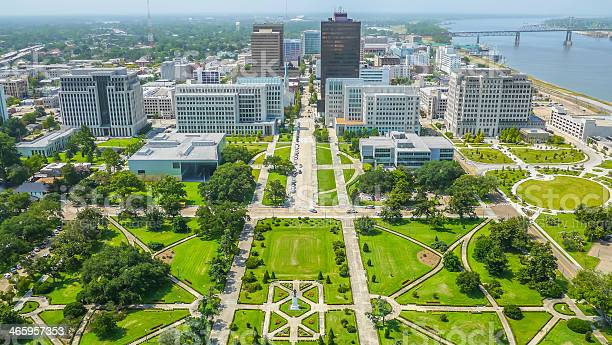 Aerial View Of Baton Rouge City Stock Photo - Download Image Now