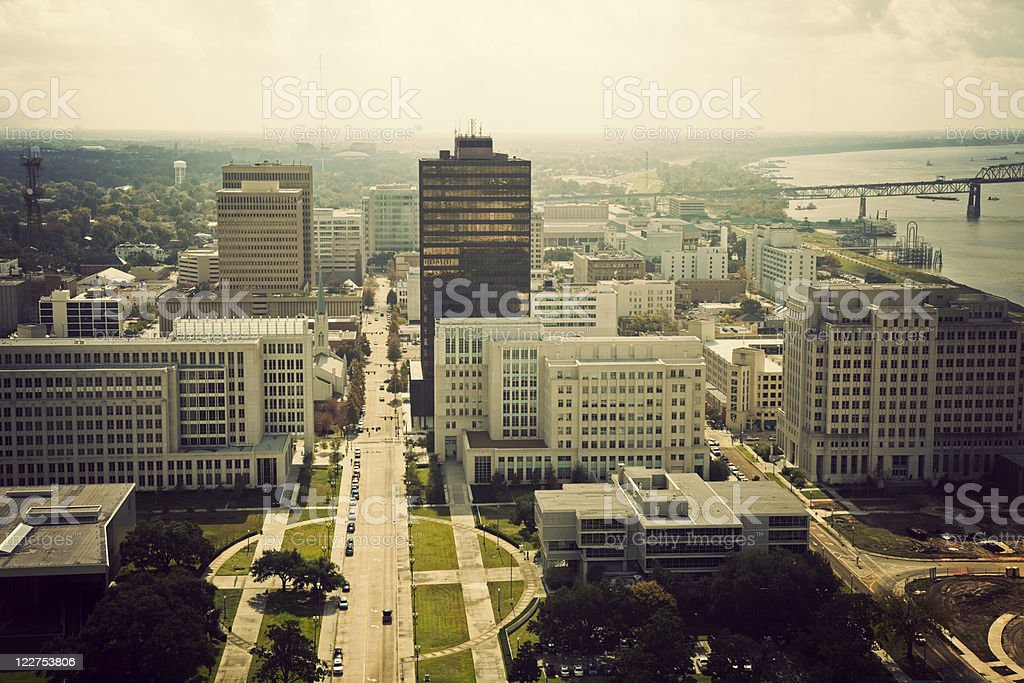 Aerial view of Baton Rouge during the day stock photo