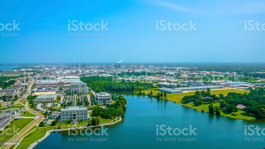 Aerial view of Baton Rouge on a sunny day stock photo