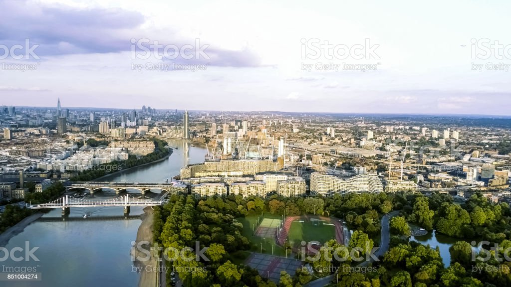 Aerial View of Battersea Park Power Station and Chelsea Bridge London stock photo