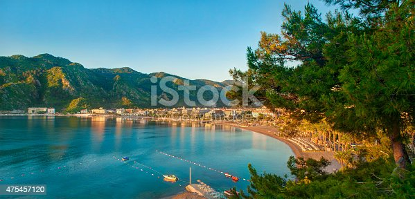 istock aerial view of bay and resort beach in sunrise 475457120