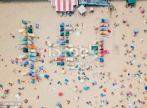 Aerial view of beach huts in Gijon