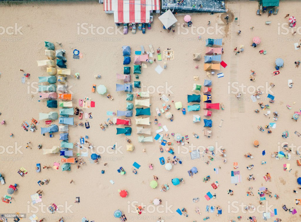 Aerial view of beach huts in Gijon stock photo