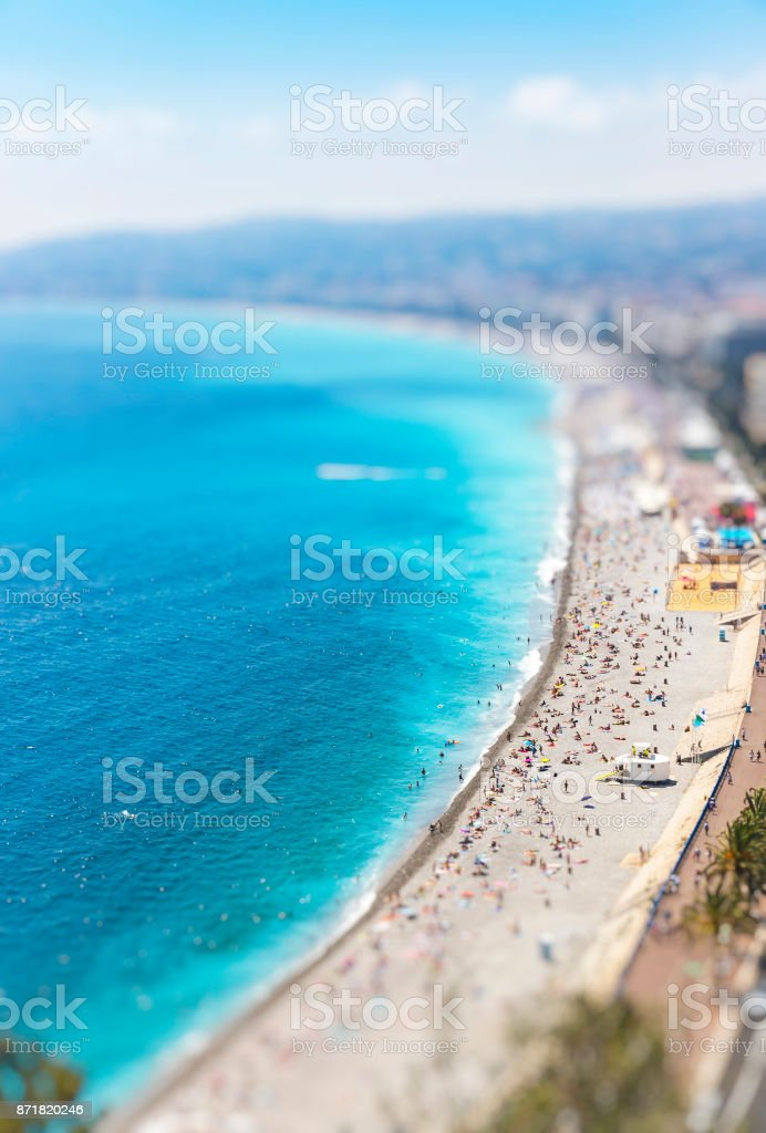 Aerial view of beach in City of Nice, France stock photo