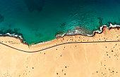 Top aerial view of Corralejo Park coast, Fuerteventura, Spain