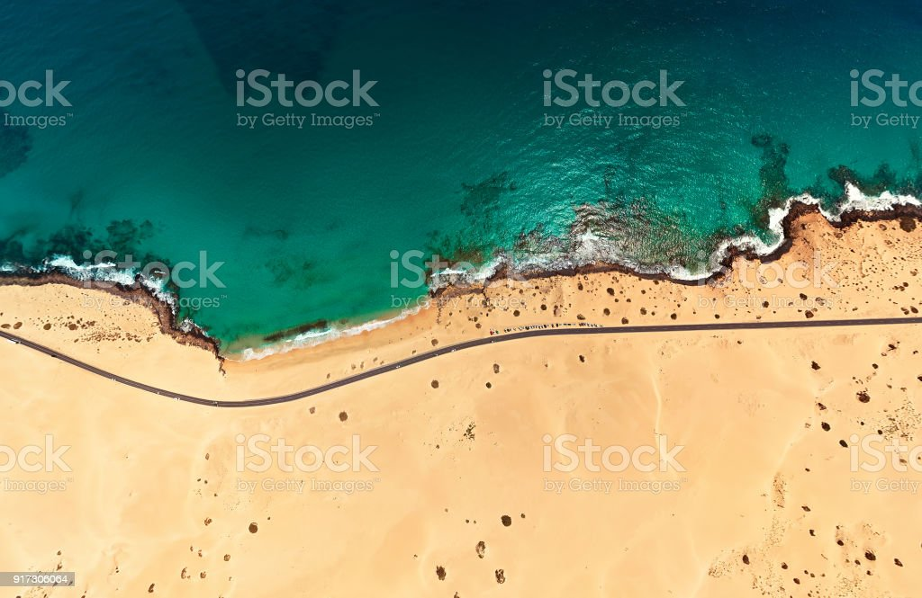 Aerial view of beach in Corralejo Park, Fuerteventura, Canary Islands stock photo