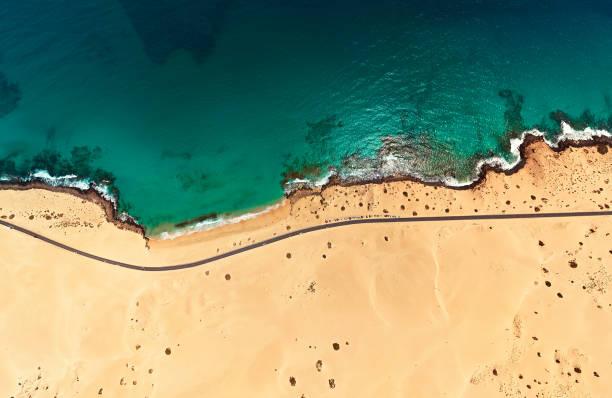 Luftaufnahme von Beach in Corralejo Park, Fuerteventura, Kanarische Inseln – Foto