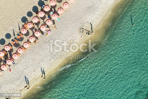 Aerial view of beach in Italy with parasols
