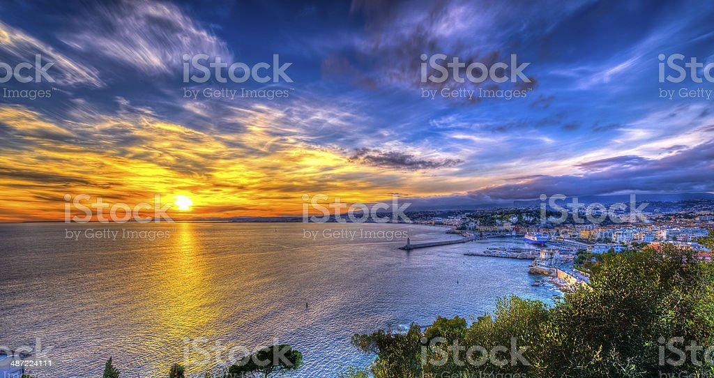 Aerial view of beach in Nice at sunset stock photo