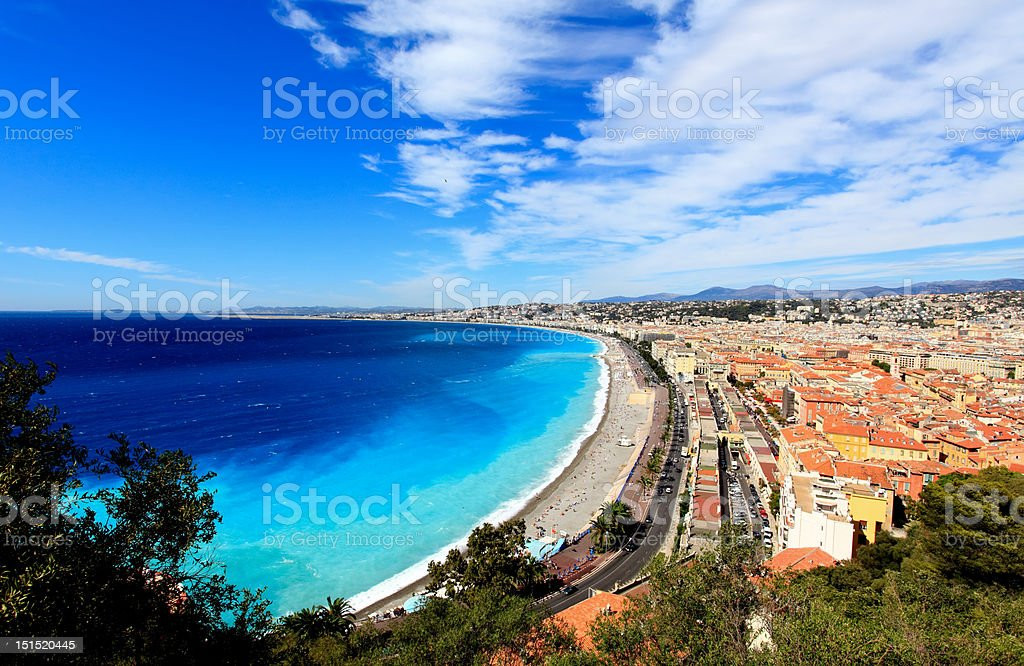 aerial view of beach in Nice royalty-free stock photo