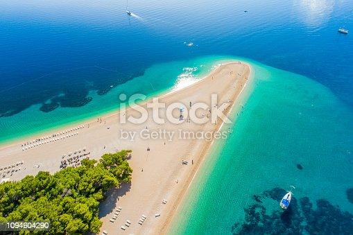 Aerial view of beach on peninsula in Croatia