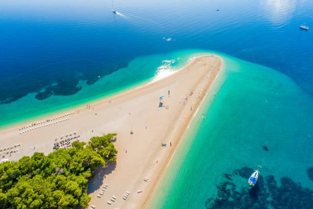 Aerial view of beach on peninsula in Croatia, Bol, Zlatni rat stock photo