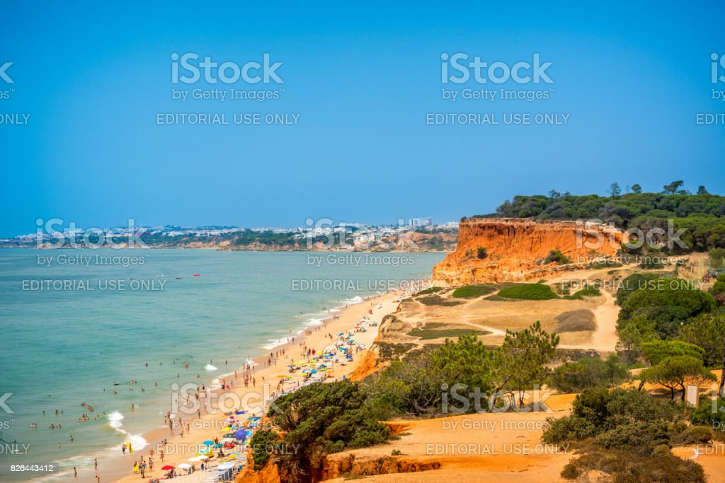 Aerial view of beach on the Algarve coast. stock photo