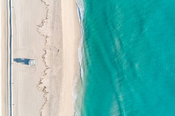 Aerial View Of Beach With Blue Waters stock photo