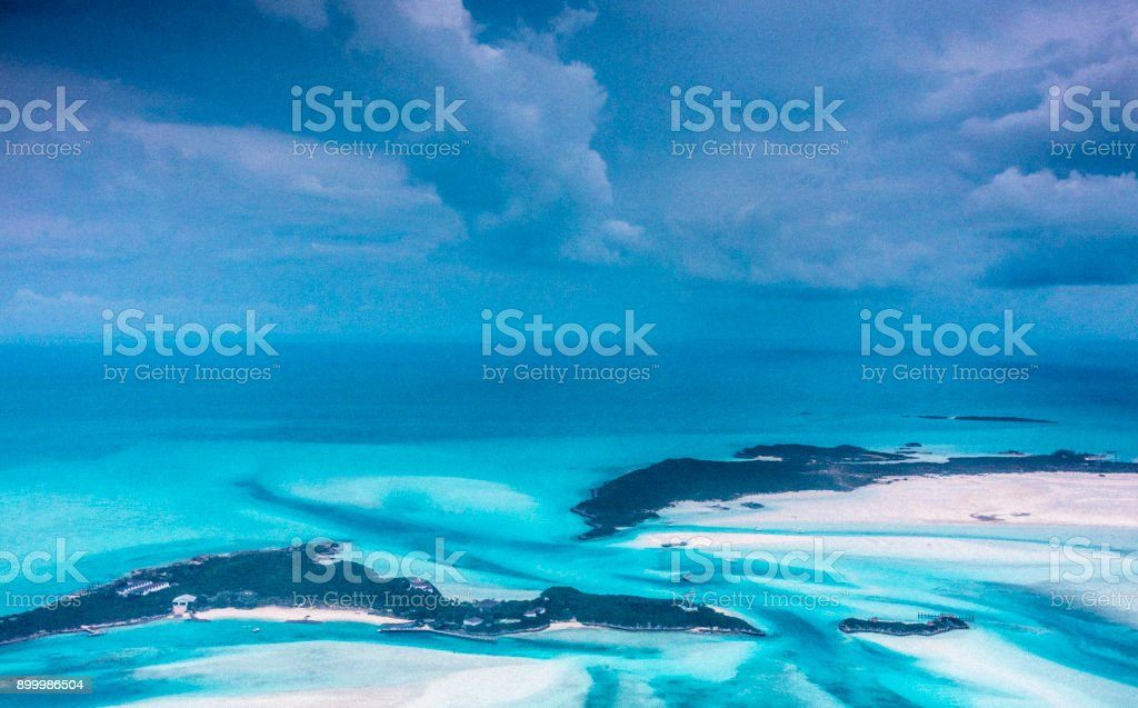 Aerial view of beaches and sand bars and beaches in the Bahamas. stock photo