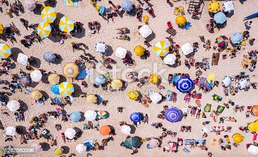 istock Aerial view of beachgoers in Rio de Janeiro, Brazil 1282580396