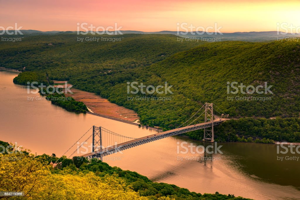 Aerial view of Bear Mountain Bridge at sunrise. stock photo