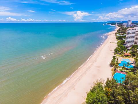 Flygfoto Över Stranden Och Havet I Hua Hin Provinsen Thailand-foton och fler bilder på Blå