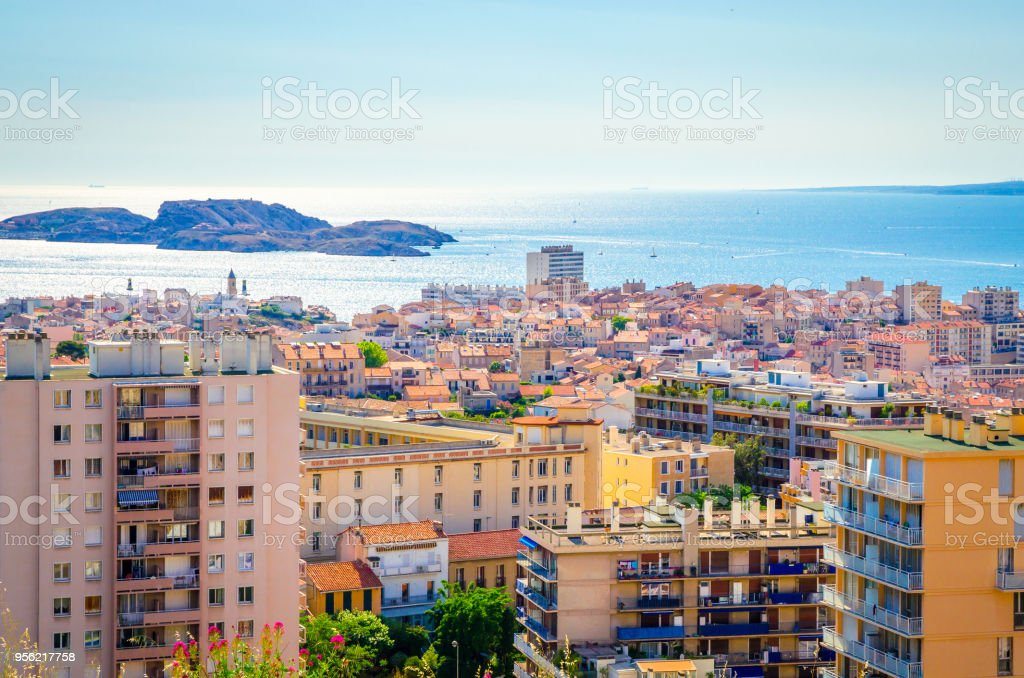 Aerial view of beautiful city Marseille, France stock photo