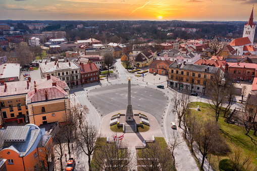 Aerial view of beautiful city of Cesis in Latvia. View on the city center, main city church and ruins of ancient Livonian castle in old town of Cesis, Latvia