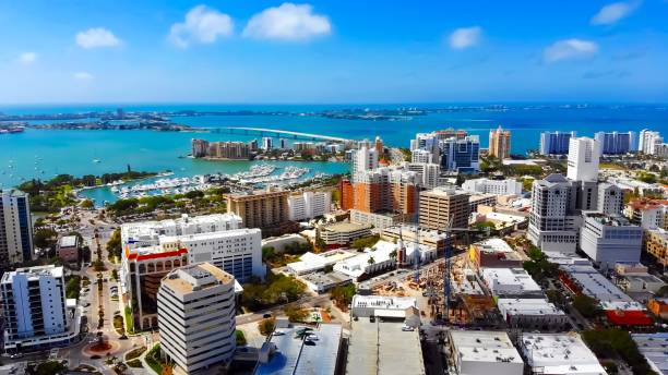 Aerial view of beautiful Downtown Sarasota, Florida View Longboat Key, Lido Key, and Downtown Sarasota from a birds eye view bay of water stock pictures, royalty-free photos & images