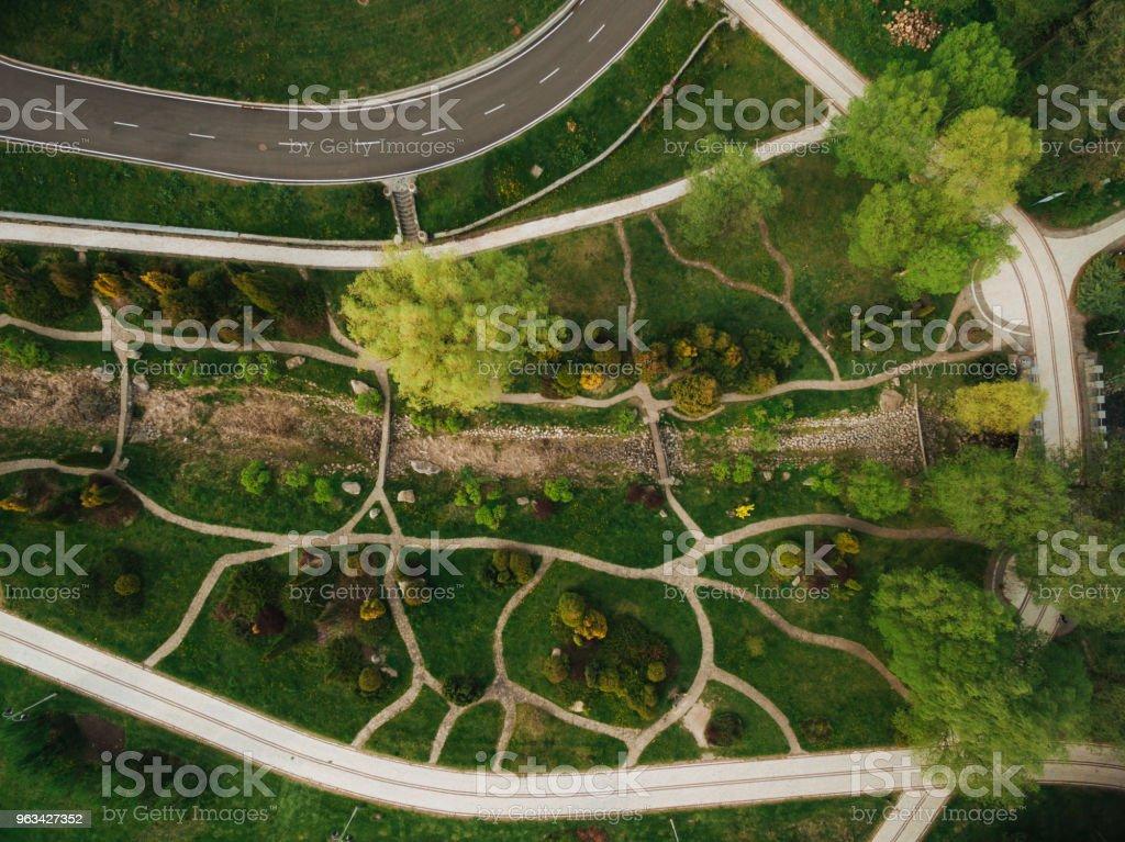 aerial view of beautiful green park and road - Zbiór zdjęć royalty-free (Bez ludzi)
