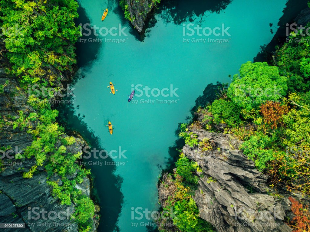 Aerial View of Beautiful Lagoon with Kayaks stock photo