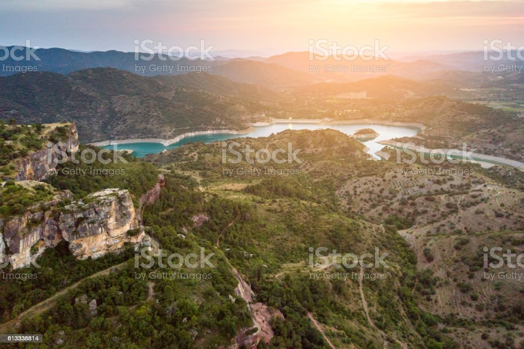 Aerial view of beautiful landscape on sunset stock photo
