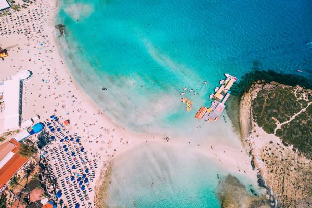 Aerial view of beautiful Nissi beach in Ayia Napa stock photo
