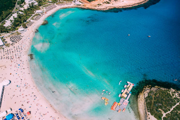 Aerial view of beautiful Nissi beach in Ayia Napa stock photo