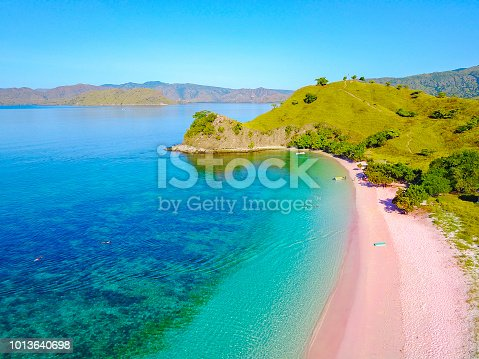 istock Aerial view of beautiful pink beach at Flores Island 1013640698
