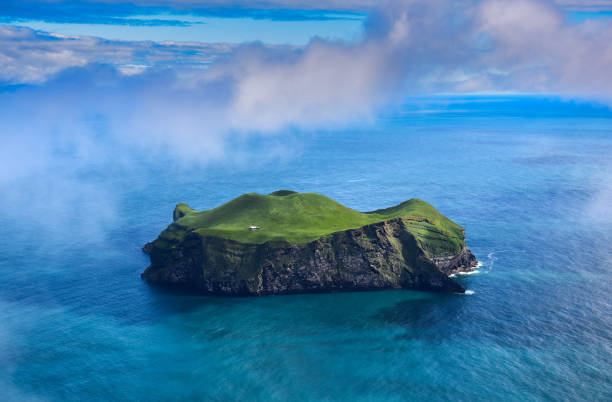 Aerial view of beautiful small island in Iceland stock photo