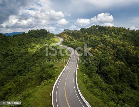 istock Aerial view of beautiful steep curved road (look like number 3) on the high mountain in Nan province, Thailand. 1279274960