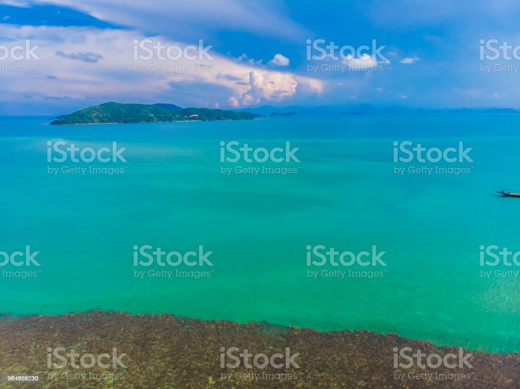 Aerial view of beautiful tropical beach and sea with palm and other tree in koh samui island royalty-free stock photo