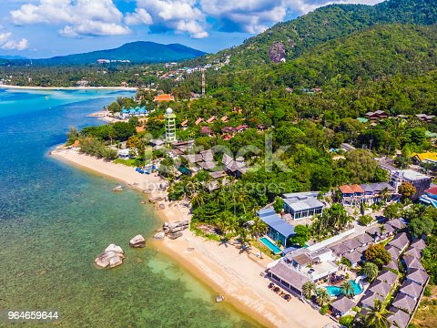 Aerial View Of Beautiful Tropical Beach And Sea With Palm And Other Tree In Koh Samui Island Stock Photo & More Pictures of Beach