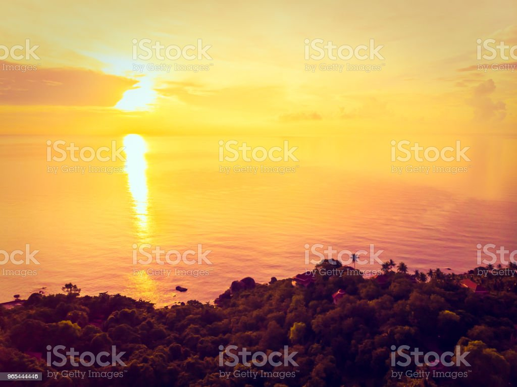 Aerial view of beautiful tropical beach and sea with palm and other tree in koh samui island zbiór zdjęć royalty-free