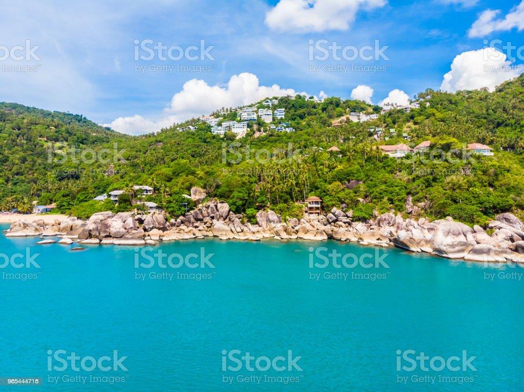 Vue aérienne de la belle plage tropicale et la mer avec palmiers et autres arbres dans l'île de koh samui - Photo de Arbre libre de droits
