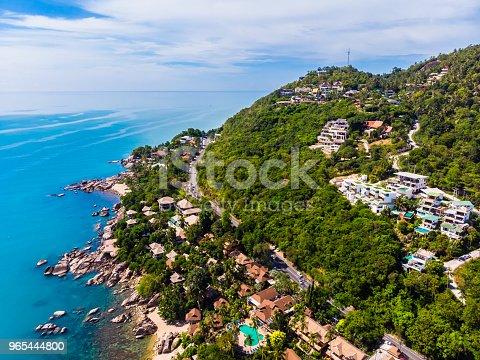 Aerial View Of Beautiful Tropical Beach And Sea With Palm And Other Tree In Koh Samui Island - Stockowe zdjęcia i więcej obrazów Bez ludzi