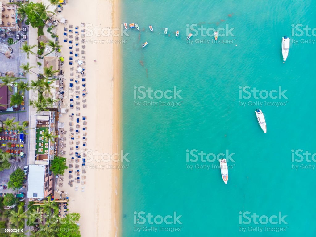 Aerial view of beautiful tropical beach and sea with palm and other tree in koh samui island - Royalty-free Beach Stock Photo