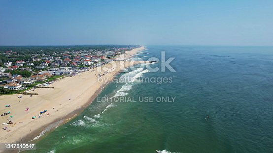 istock Aerial view of beautiful tropical beach with turquoise water in blue lagoon, Atlantic city Ocean coastline with sandy beach. Tropical landscape. 1347840547
