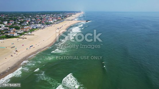 istock Aerial view of beautiful tropical beach with turquoise water in blue lagoon, Atlantic city Ocean coastline with sandy beach. Tropical landscape. 1347840572