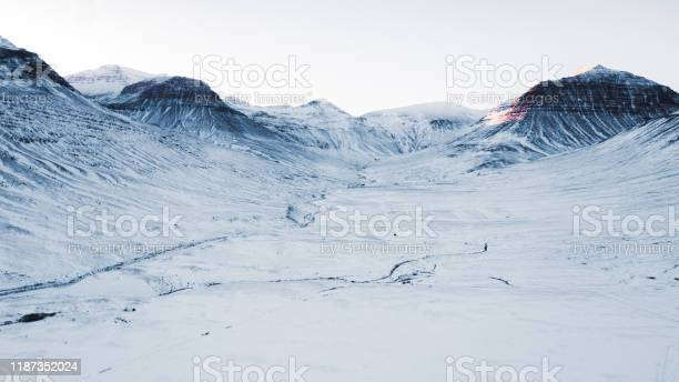 Photo of Aerial view of beautiful winter road and mountains during sunset in North Iceland