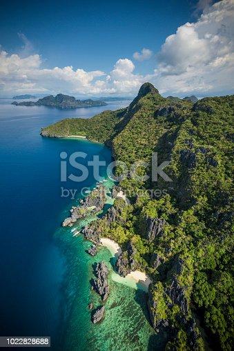 Aerial View of beauty Hidden Beach, El Nido, Palawan, Philippines