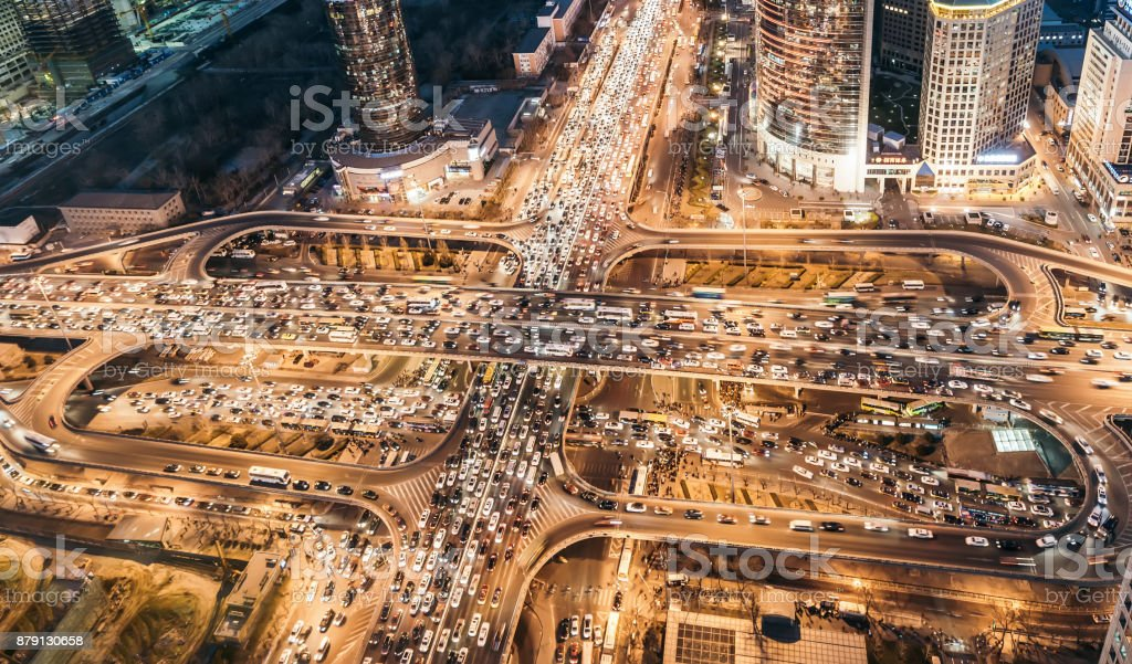 Aerial View of Beijing Crowded Traffic Jam - fotografia de stock