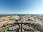 Beijing,China - Oct 1,2018:Aerial view of Beijing daxing international airport construction site under blue sky.