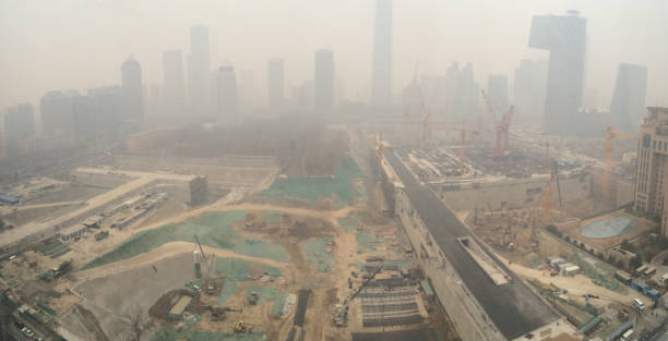 Aerial View of Beijing New CBD Construction in Smog