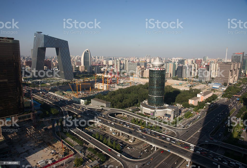 Aerial View of Beijing New CBD Core Under Construction stock photo